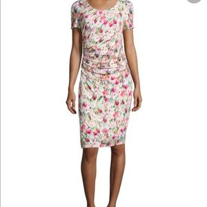 Kay Unger New York Floral Fitted Ruched Dress